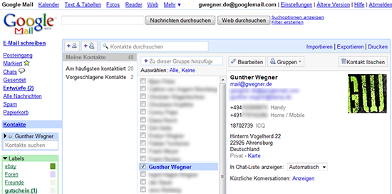 Kontaktmanagement mit Google Mail