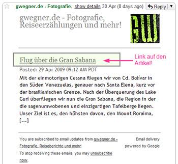 Der Auszug auf gwegner.de per Email